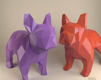 French Bulldog, Paper Dog, Papercraft Bulldog, Paper Animals, Papertoy, Home Decor, Frenchie, 3D papercraft model, lowpoly DIY, hobby idea