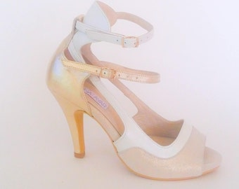 Gold and white shoes,High heel sandal, Summer Shoes,Handmade leather shoes,evening shoes