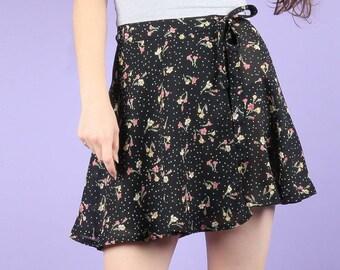 90s Vintage Bohemian Floral Navy Blue Wrap Mini Skirt