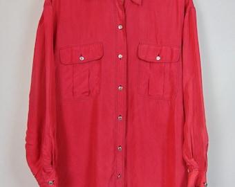 Vintage Red Silk Shirt