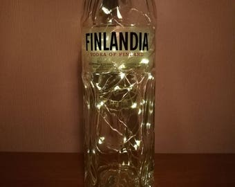 Upcycled Finlandia Vodka LED Light Bottle