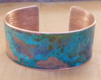 ocean blue and pink bracelet, copper cuff, metal jewelry, valentine gift, anniversary gift, copper bracelet, patina, bohemian, eclectic