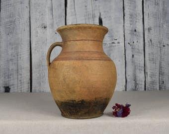 Vintage clay vessel / Antique clay pot / Rustic  ceramic bowl / Ceramic jug / Traditional ceramic pitcher / Home decor / Country decor