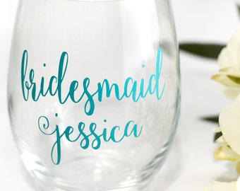 Wedding wine glass decal, Will you be my bridesmaid, Bridesmaid decal, Glass decals, Wine glass decal, Bridesmaid glass, Wedding decals