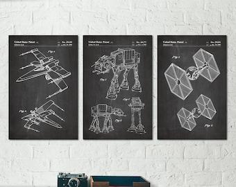 AT-AT Walker TIE Fighter Star Wars Poster, Star Wars Baby Nursery, Star Wars Teen Boy Room, Geek Art Print, Sci Fi Gift Starwars Poster S053