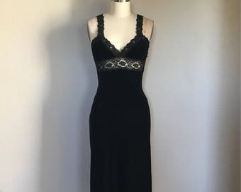 Vintage Betsey Johnson 90's Black Velvet Lace Dress