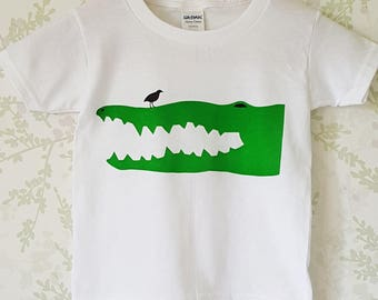 Kids hand screen printed Crocodile T-shirt