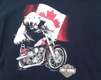 Vintage 90's Harley Davidson / Toronto, Ontario Crew-neck Sweatshirt Made in Canada XL