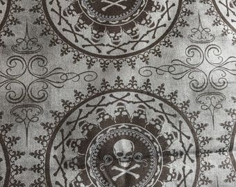 "Day of the Dead steampunk skull - 22"" of 44"" fabric .625 yard"