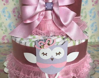 Two layer owl diaper cake