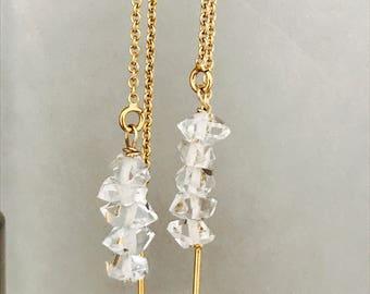 Herkimer Earrings Herkimer Diamonds Gold Fill Earrings Crystal Earrings Drop Earrings Ear Tread Earrings