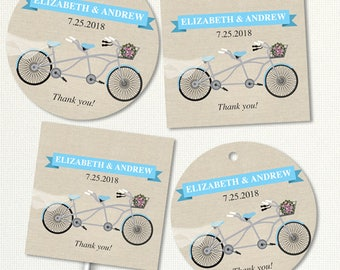 Printable Blue Tandem Bicycle Images, Editable PDF Instant Download seals, stickers, tags, buttons, cupcake toppers