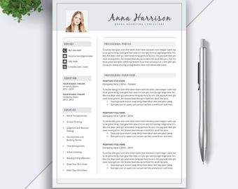 Resume Template / CV Template | 5 Pages Word Resume | Cover Letter | Modern Resume | Professional Creative Resume | Instant Download | ANNA