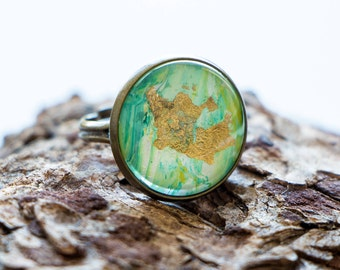 Abstract Green & Gold Leaf Glass Cabochon Ring // Statement Ring, Adjustable Ring, Wearable Art, Gifts for Her, Travel Jewelry, Travel Her