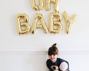 """Oh Baby Letter Balloons - Oh Baby Party Decor - Baby Shower Decor - Oh Baby Balloons - Gender Reveal Banner - 16"""" Gold Mylar Letter Balloons"""