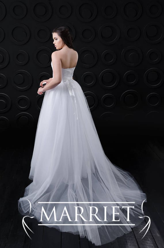 A Line Wedding Dress with Tulle Skirt | Strapless | Sleeveless | Long | Lace