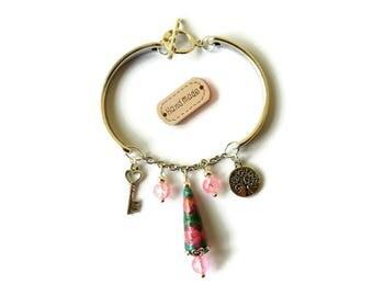 Bracelet Charm Bracelet silver key heart tree of life key paper beads Artisanales glass pink lucky green beads