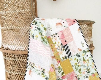 Modern Baby Quilt for Sale-Floral -Indie- Baby Girl Quilt-Boho Handmade Baby Quilt