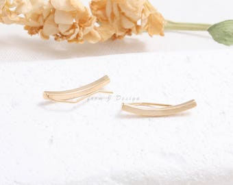 Minimalist Brushed Textured Line Ear Climbers, Curved Bar Ear Crawlers-1pair