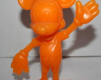 "1971 Marx Mickey Mouse Orange Plastic 6"" Toy Figure Walt Disney"