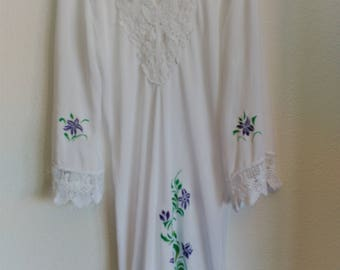 White long-sleeved viscose dress custom purple flowers with green leaves. Hand painted. Unique size