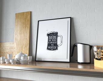 Display decorative beer poster black and white illustration of beer, beer quote