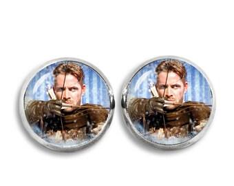 Robin of Locksley Stud Earrings Once upon a time Robin Hood Earrings 12mm Glass dome earrings Fandom Jewelry