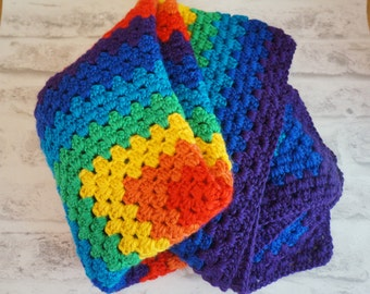 Crochet Rainbow Blanket, Granny Square baby blanket, Rainbow afghan, colourful blanket, Rainbow baby blanket