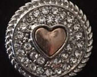 Quality New Metal 20mm Snap Silver with a Gold Heart - Fits all 18mm Snap Jewelry