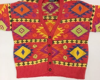 Late 1980's Early 1990's Men's Structute Cardigan Size Large | Navajo Pattern | Oversized | Runs Large