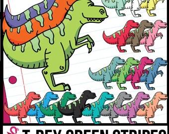 Green-Striped T-Rex Dinosaurs Clip Art, Tyrannosaurus Rex Clipart