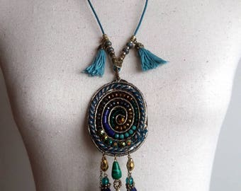 Boho tassel pendant necklace, Turquoise leather Ibiza style chain, Tassel in Buddha heads, Gift for her