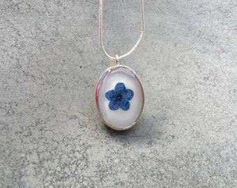 Blue Forget-me-not against White in Silver Plated Open Back Bezel Resin Pendant Necklace, Pressed Flowers, Resin Jewelry, Christmas