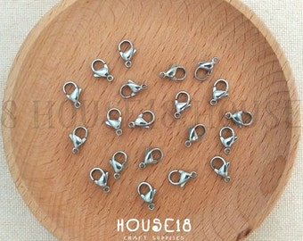 12mm Stainless Steel Lobster Clasp Lobster Claw Clasp 100 PCS Jewelry Findings Jewelry Making Supplies