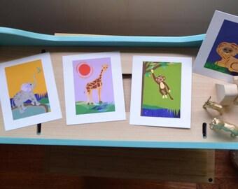 3+1! Set of four Safari Nursery Wall Art, perfect gift for baby boy or girl, Purple Giraffe, Blue Lion, Green Monkey, and Yellow Elephant