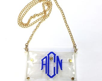 Personalized/Monogrammed Clear Stadium Gameday Clutch/Cross Body Purse/Bag/Tote.