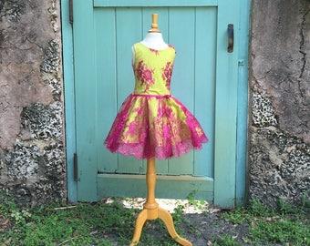 Metallic Fuchsia Chantilly Lace over Chartreuse Stretch Cotton Sleeveless Circle Lace Skirt Dress