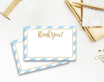Baby Shower Thank You Card, Light Blue and Navy, Gold Glitters, Stripes, Soft Blue, Baby Blue, Stripes, Striped, Boy, 003