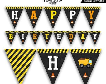 Construction Birthday Party Banner, Happy Birthday Banner, Printable, DIY, Construction Truck Party Decor, Dump Truck Birthday Party, 088