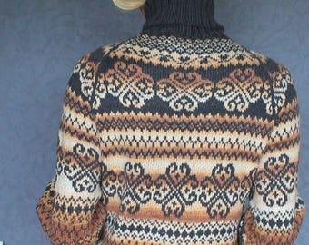 Hand knit sweater Jacquard sweater Nordic jumper Scandinavian sweater Handknit pullover Woolen sweater Knitted sweater Icelandic sweater