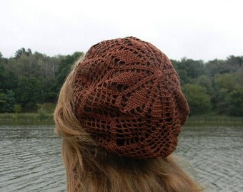 Summer beanie Crochet brown hat Chocolate beret Cotton beach hat women brown knitted gift for girlfried  summer accessories