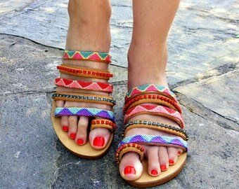 """FREE SHIPPING Strappy Leather Sandals """"Coral Reef""""/ Boho Colorful Sandals / Greek Flat sandals / Swarovski sandals / Womens Shoes"""