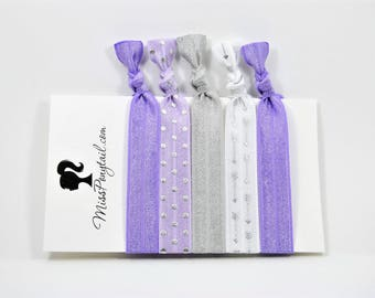 Silver Arrows Hair Ties, Silver Foil, Purple, Silver Dots, Handmade Elastic Hair Ties, Elastic Ribbon, Ponytail Holder, Knotted MissPonytail