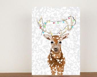 Deer christmas card | Etsy