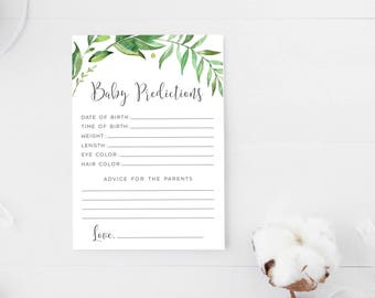 Baby Predictions, Printable Baby Shower Games, Advice for the Parents,  Predictions and Advice, Greenery, Gender neutral, Instant Download