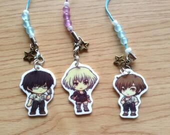 Terror in Resonance keychain, Zankyou no Terror keychain, Five phone charm, Twelve phone charm, Nine, anime keychain, anime phone strap