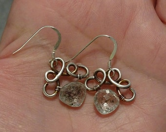Sterling Silver and Moss Lepidolite Earrings