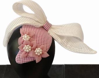 White & Pink Fascinator, Ascot/Melbourne Cup Hat, Spring Racing Hat, Fascinator, Racing headpiece, Womens/Ladies Hat, Designer Hat - RUBY