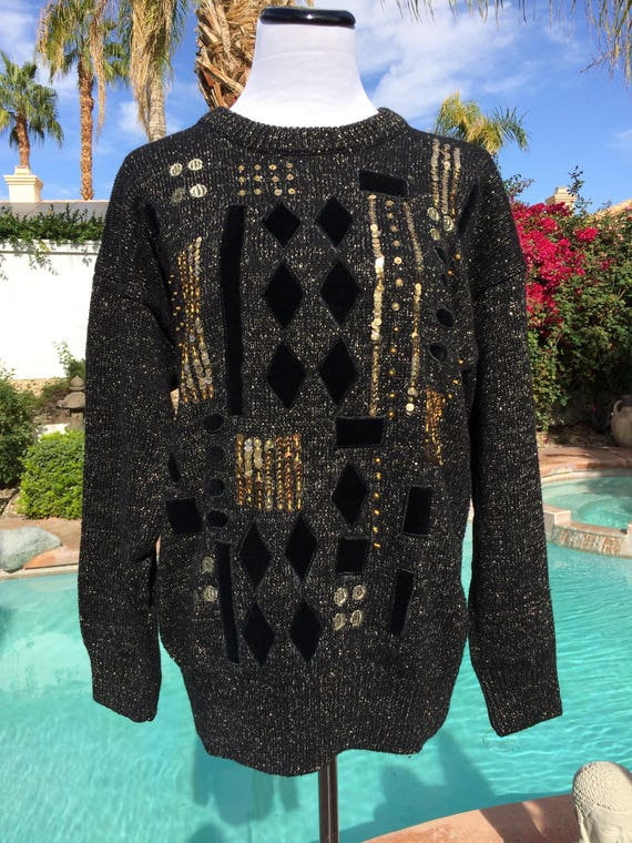 Vintage 90's Bonnie and Bill Sequined Black Sweater with Black Velvet and Metallic Accents,Size Small.