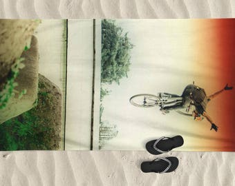 Beach Towel, Men beach towel, bike art, mountain bike art, Cycling Art, Beach Lover, Men gift, Cycling Gift, bicycle art, Brandon Semenuk